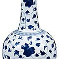 Chinese Ming-style blue and white porcelain bottle vase, Kangxi period