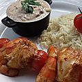 Brochettes de poisson et gambas tandoori