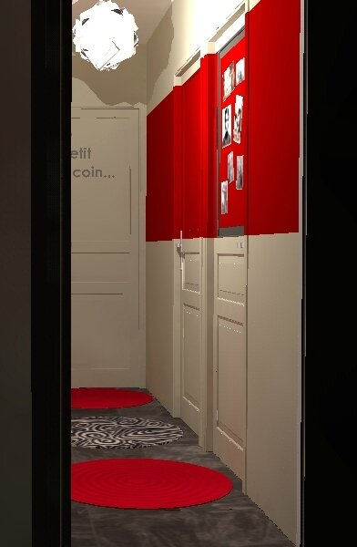 decoration-couloir-ambiance-coloree-bande-couleur-rouge-tapis-ronds