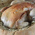 Poulet en croûte de pain à la camomille