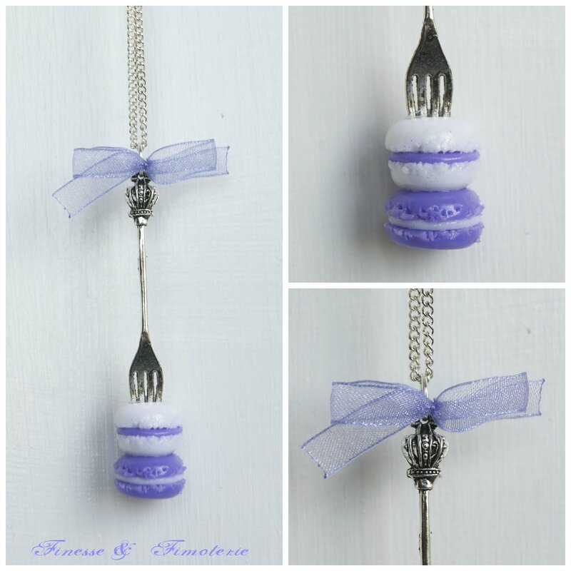 collier fourchette duo macaron blanc parme