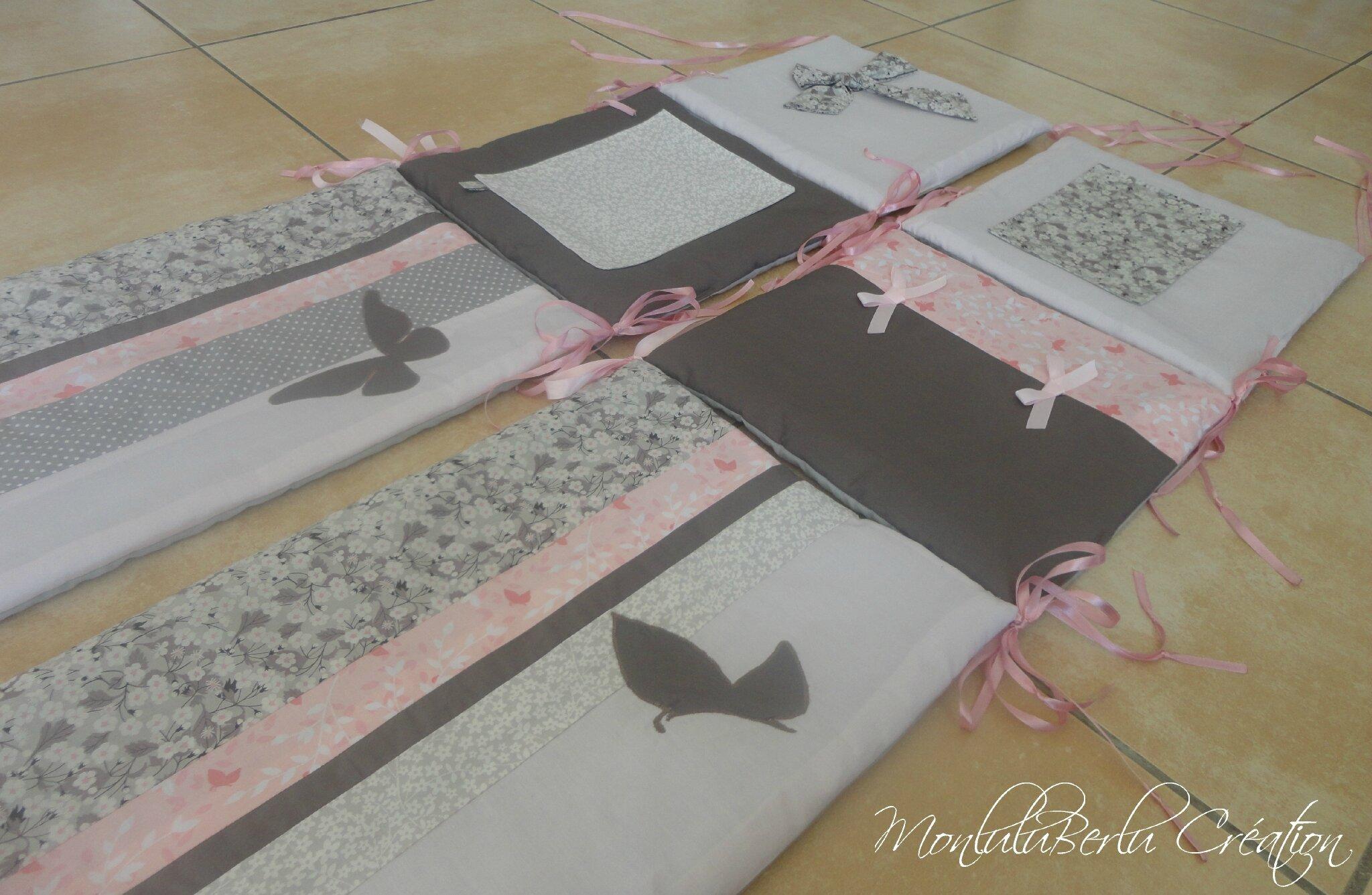 Tours de lit jumelles liberty taupe rose poudr gris for Taupe rose poudre
