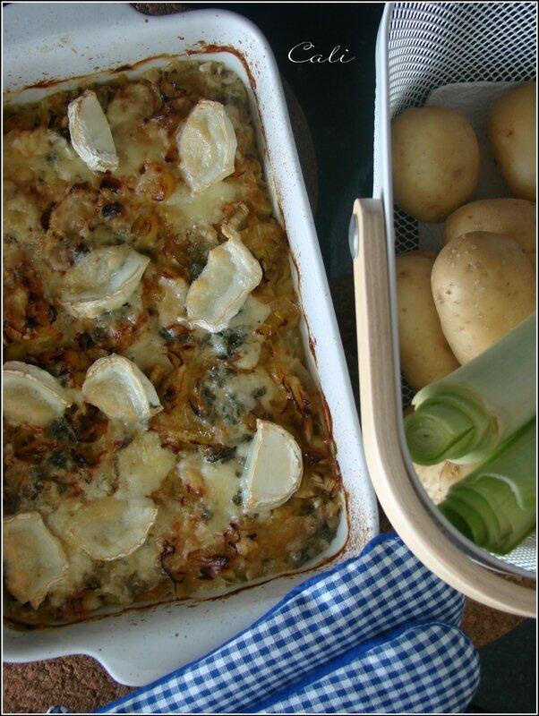 Gratin Poireaux-Pommes de Terre au Roquefort et au Chèvre (sans crème) 001
