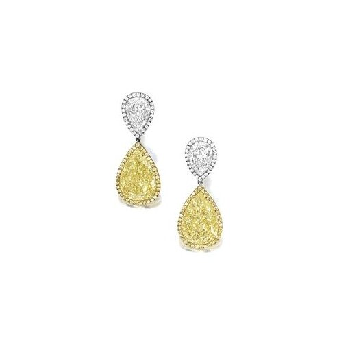Pair of Fancy Yellow Diamond and Diamond Earrings