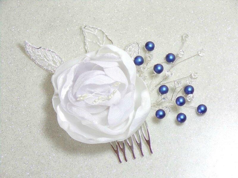 Accessoire cheveux mariage fleur perles swarovski