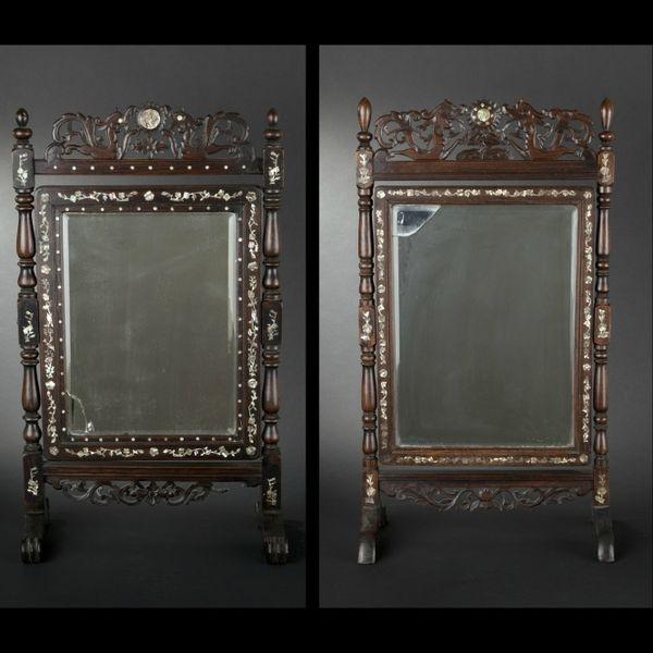 vietnam deux miroirs de table formant paire accident s entourage de bois laqu et burgaut. Black Bedroom Furniture Sets. Home Design Ideas