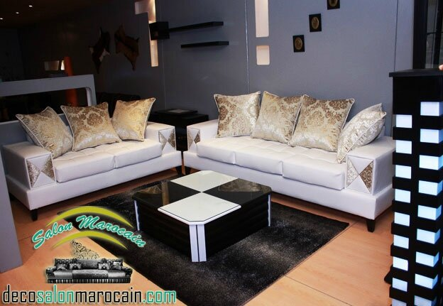 Beige Marron 2014 Salon marocain moderne. Salon
