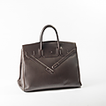 Hermes paris made in france par jean paul gaultier année 2009. sac birkin shadow 40cm en veau swift marron