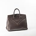 Hermes paris made in france par jean paul gaultier année 2009. sac birkin shadow 40cm en veau swift marron