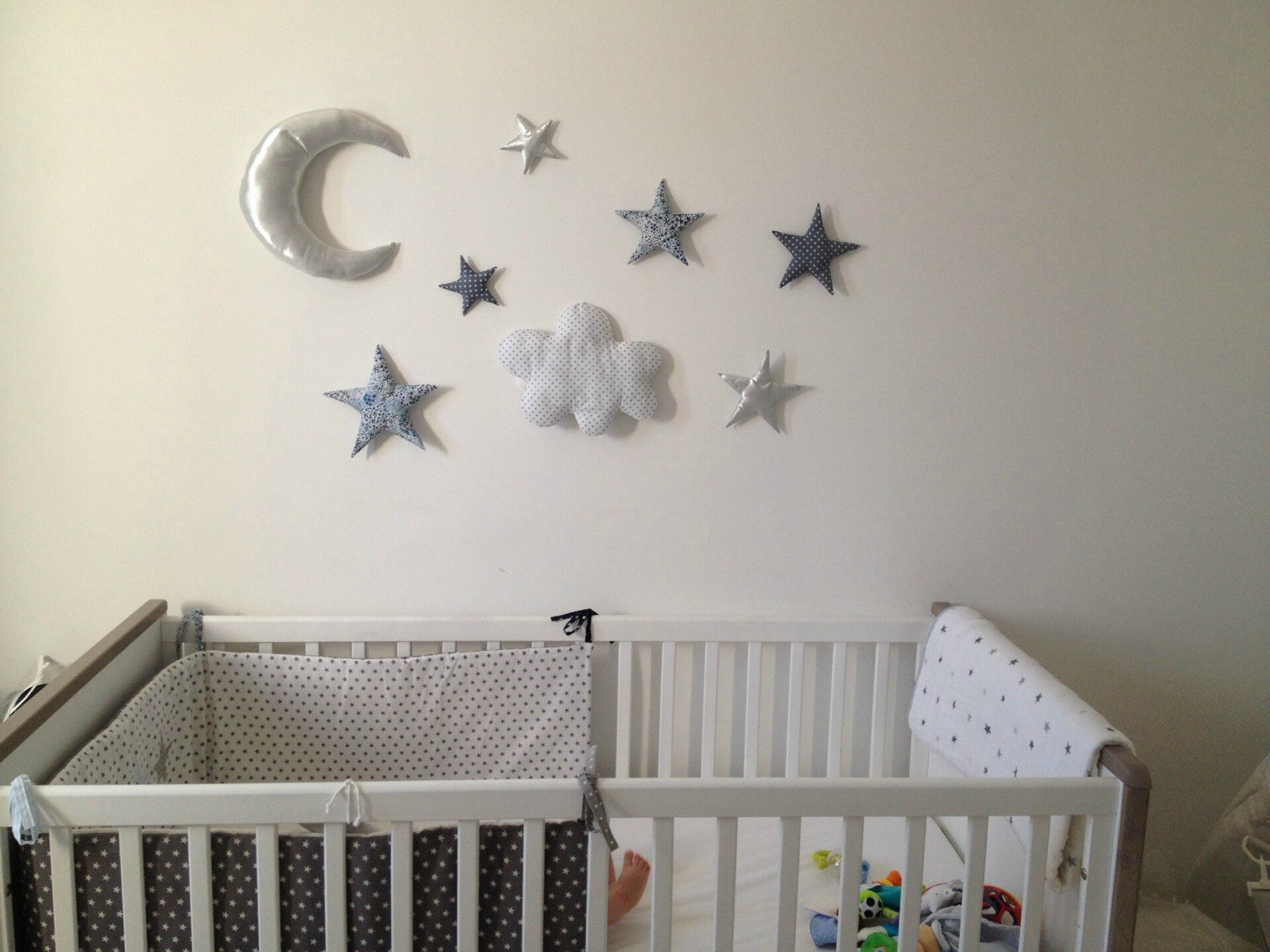 D coration murale lune toiles nuage photo de for Deco murale chambre bebe