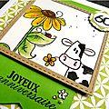 [carte] vache et tournesol