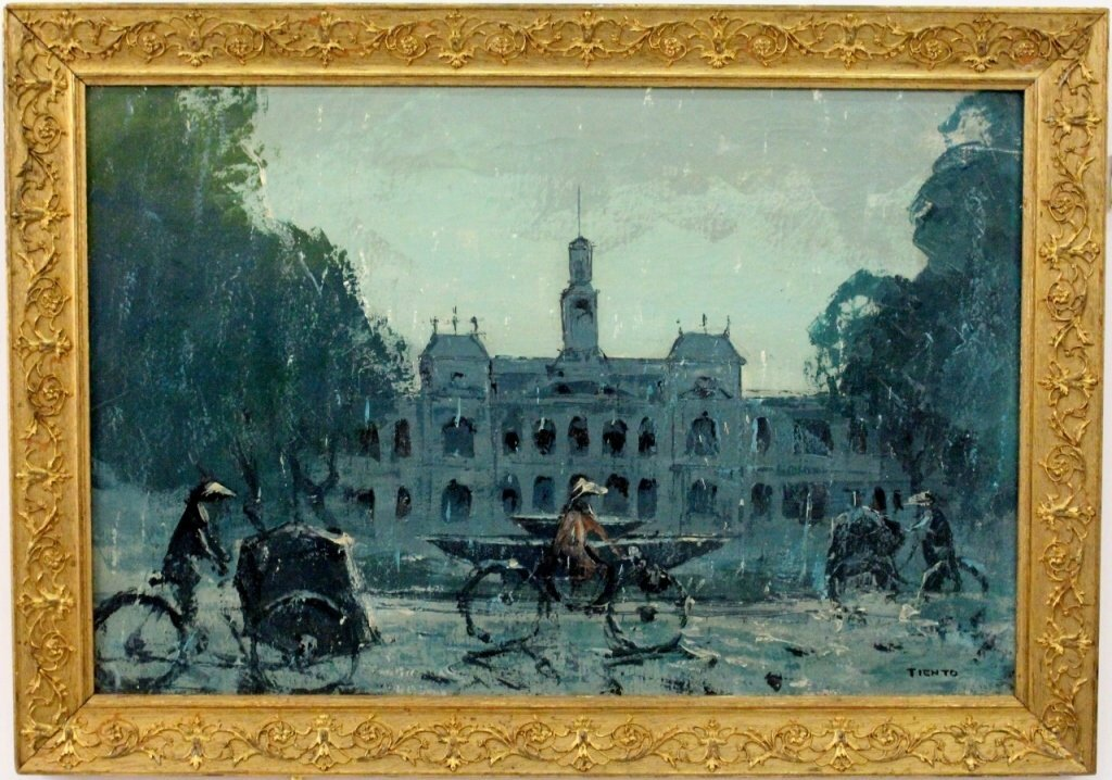 Painting of Saigon with Rickshaws, 20th century. Photo courtesy Ahlers & Ogletree Auction Gallery.