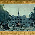 Painting of Saigon with Rickshaws, 20th century. Photo courtesy Ahlers & Ogletree Auction Gallery.