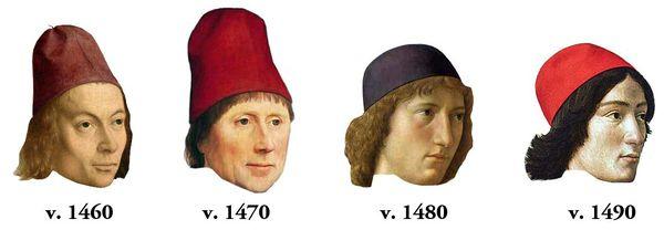 Le bonnet de 1460 à 1490