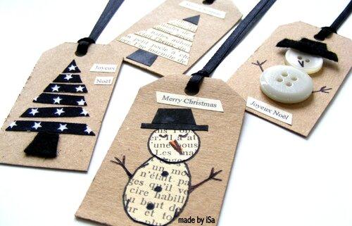 Déco Noël papier/carton: tags récup'