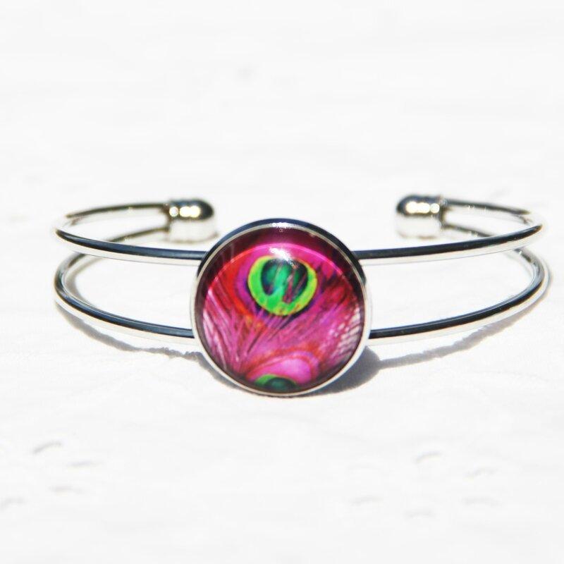 paola 40 bracelet argenté rose fuchsia verte cabochon jonc #louise indigo bijoux colorés (4)