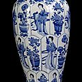 A good blue and white porcelain vase with beauties and boys near flower pots, china, leaf mark, kangxi period