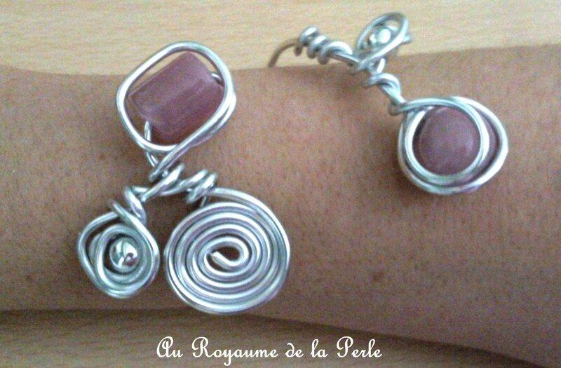 Bracelet alu rose et métal argenté détail 4