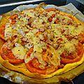 Tarte à la tomate, comté, lardons