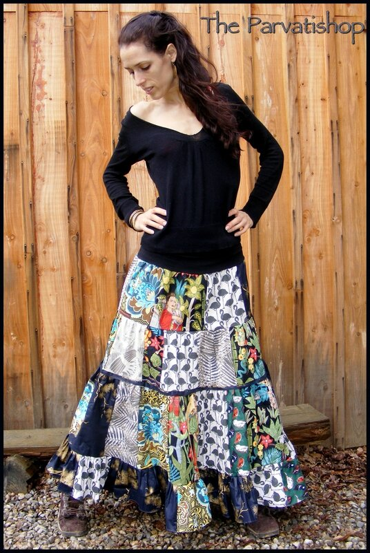 jupe gitane patchwork my frida bohemian skirt parvatishop cr ations. Black Bedroom Furniture Sets. Home Design Ideas