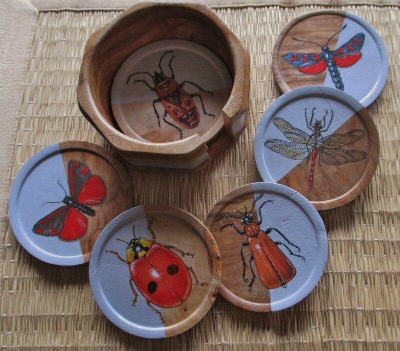 """Boîtier et ses 6 sous-verres bois """"Insectes"""""""