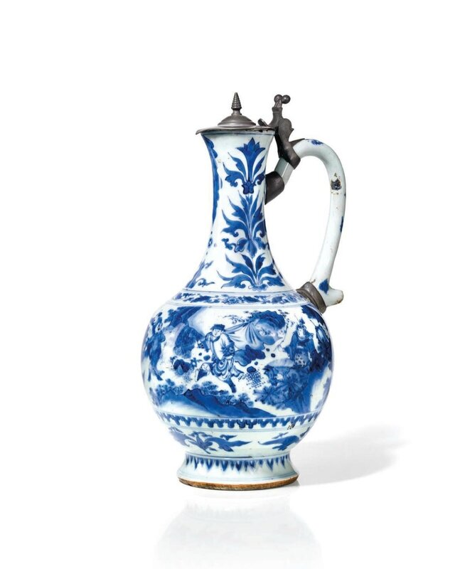 Aiguière en porcelaine bleu blanc, Chine, Epoque Transition, XVIIe siècle