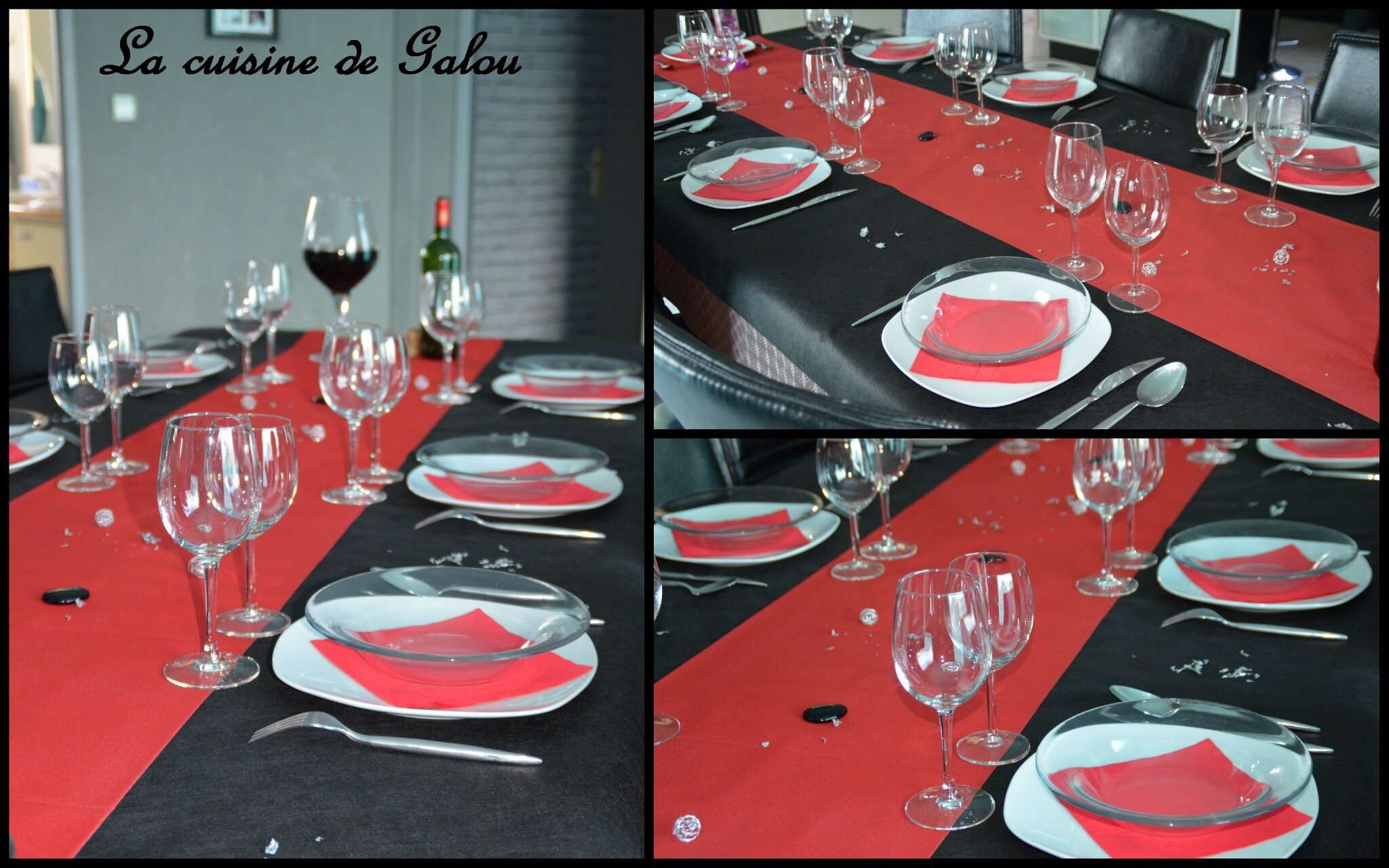 table de fetes noire rouge et blanche la cuisine de galou. Black Bedroom Furniture Sets. Home Design Ideas