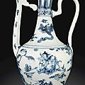 A rare blue and white ewer and cover, ming dynasty, 15th century