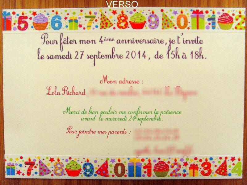 Exceptionnel Cartons d'invitation pour l'anniversaire de Lola (4 ans) - Quand  ZQ93