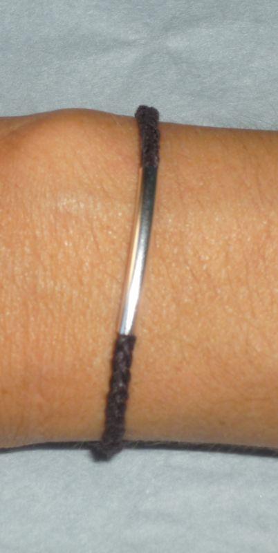 Bracelet 'tube et lien tressé chocolat'