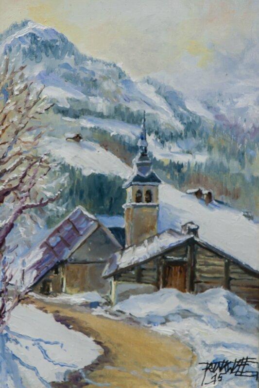 Villard-sur-Thônes - Huile - Format 4P (33 x 22) - Disponible -