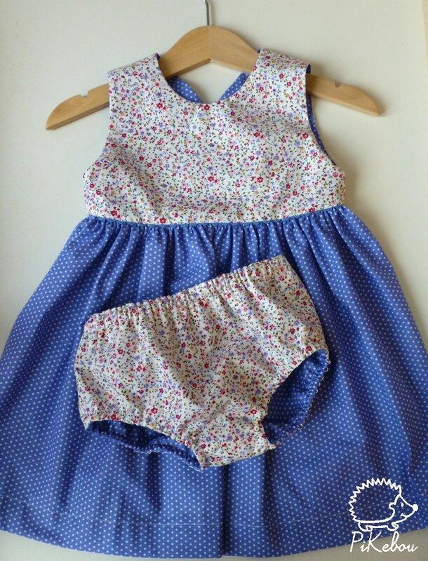 robe croisee pois bleu Pikebou 1