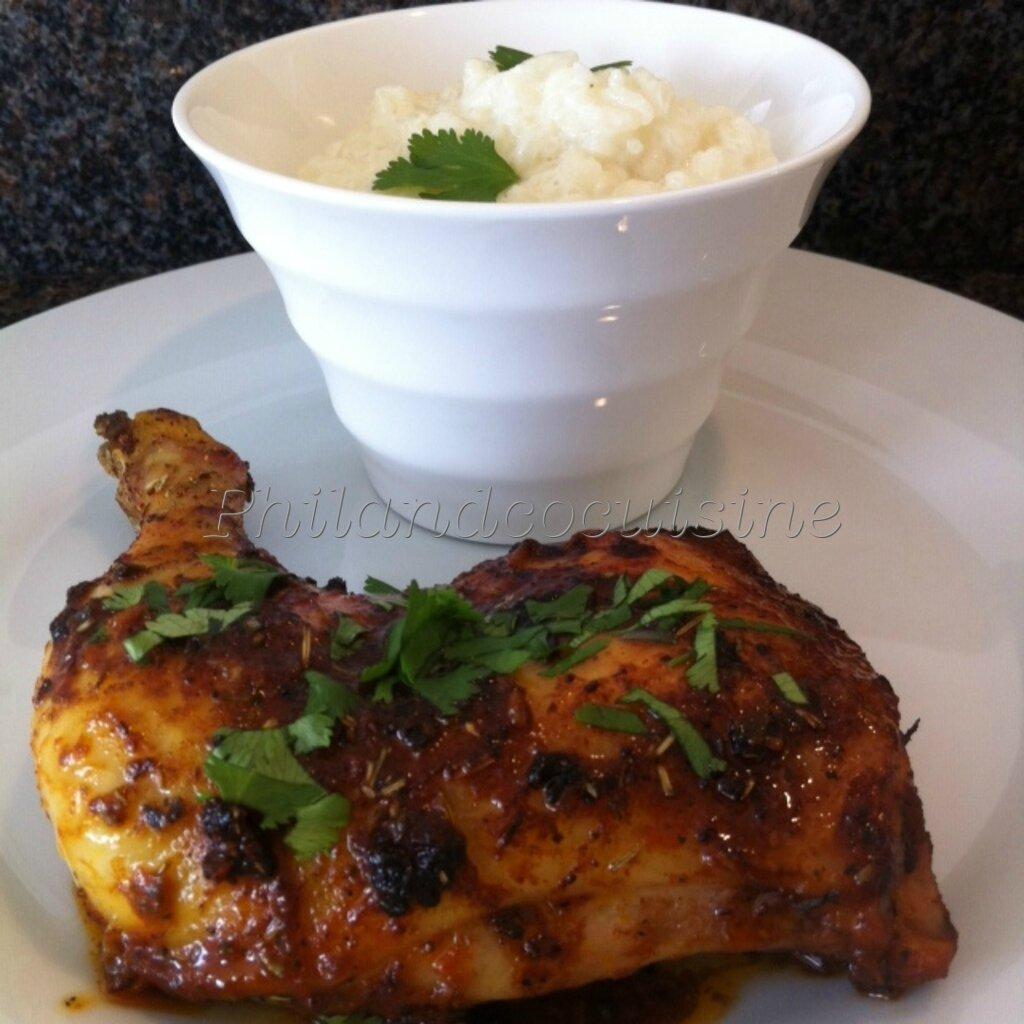 Cuisses de poulet en papillote ma...ison et riz au lait à la cardamome