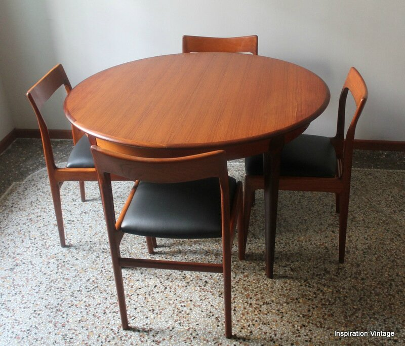 Table 60 39 s en teck esprit scandinave inspiration vintage for Table rallonge scandinave