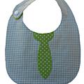 Enduit vichy gris cravate verte à pois blancs