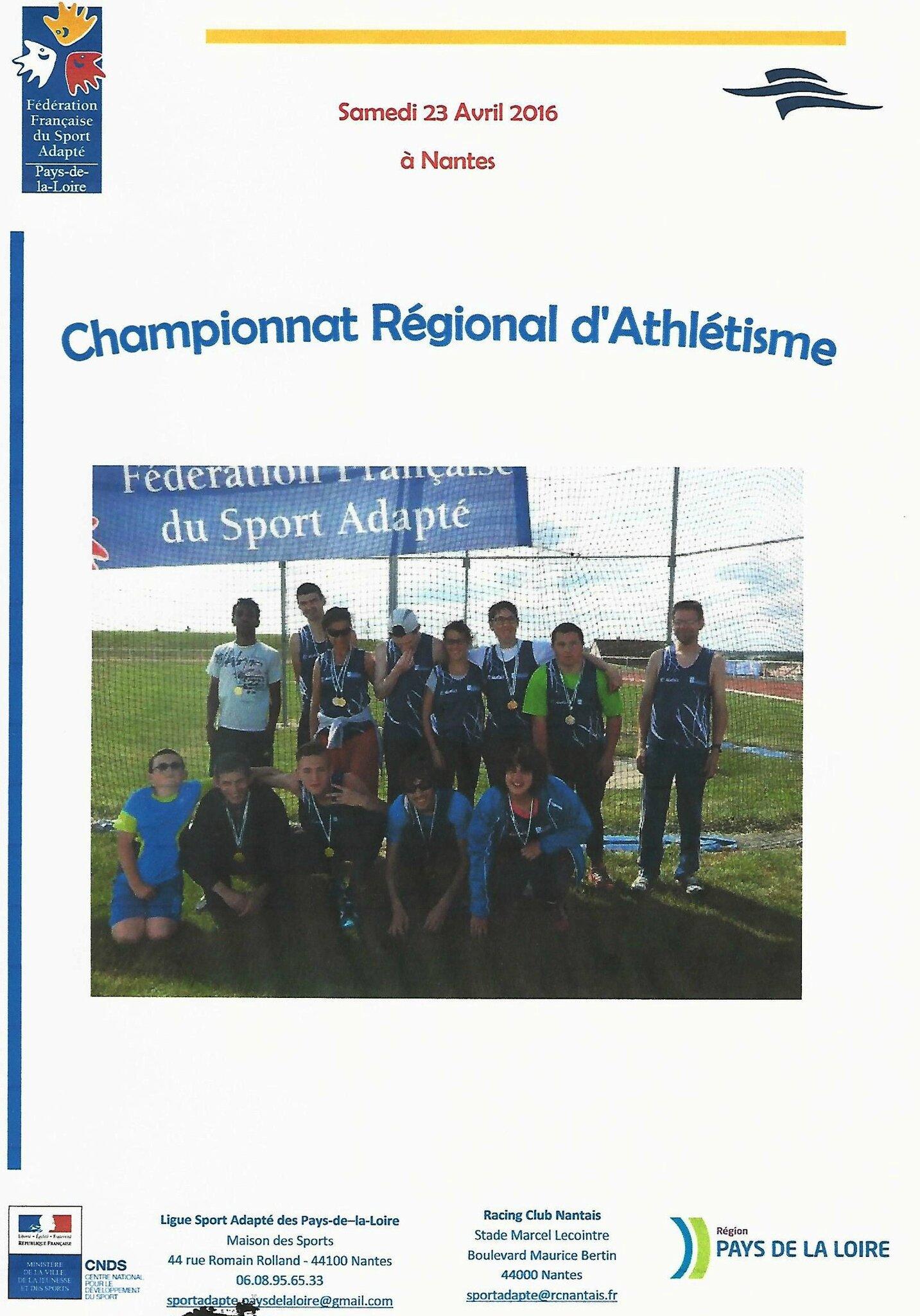 Championnat Régional d'Athlétisme à Nantes