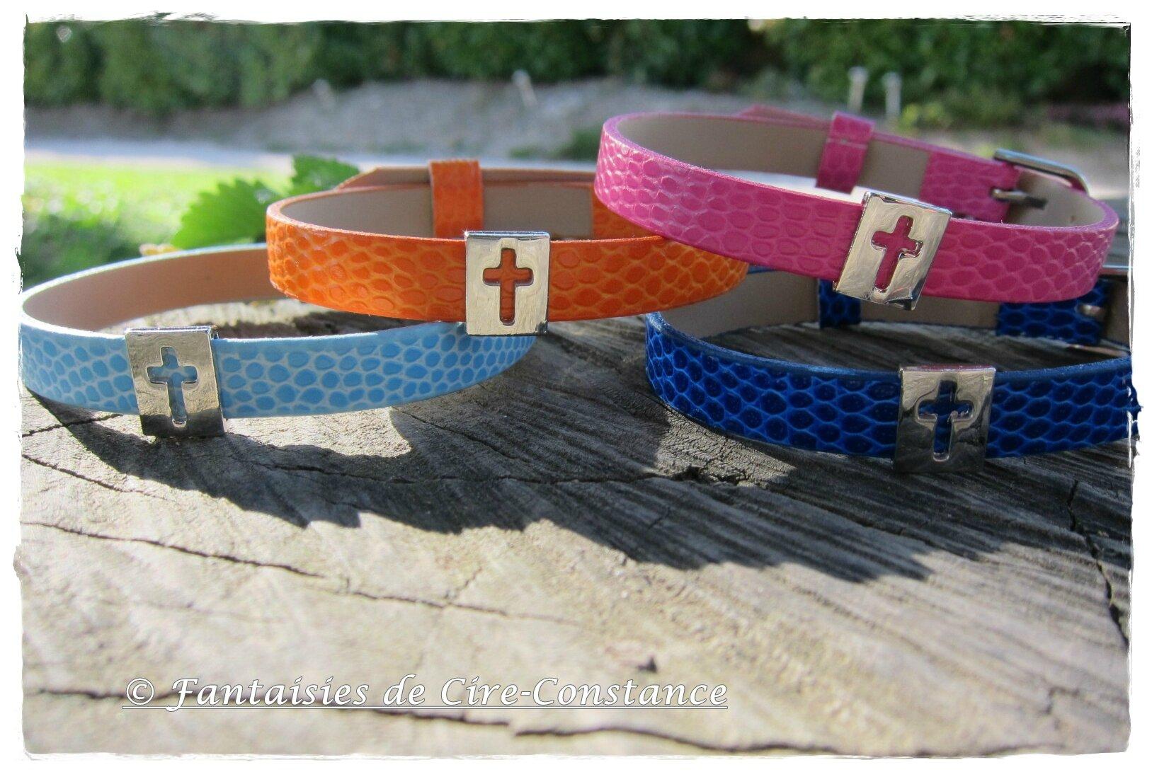 Bracelets Noémie imitation cuir croix