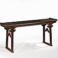 Grande table qiaotou'an en orme pourpre, chine, dynastie qing, xviiie siècle