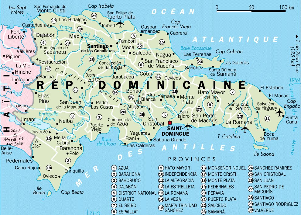 Carte de la republique - Office du tourisme republique dominicaine ...