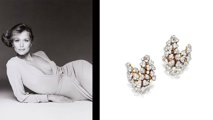 Lauren Hutton & David Webb Earclips