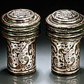 A pair of silver inlaid bronze chariot fittings, probably western han dynasty, 1st century bc