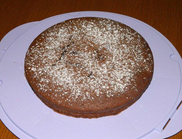 Gâteau yaourt, chocolat, framboises