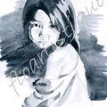 carte n° 35 - petite fille cheveux long en noir et blanc