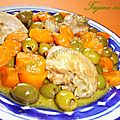 Tajine zitoune (poulet aux olives et aux carottes)