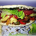 Pain kebab fourré au fromage raclette, poivrons /merguez, jambon, magret et pomme de terre ....