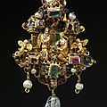 Gold enamelled pendant of 'architectural' form, probably netherlandish (antwerp), or german, 1550-1575