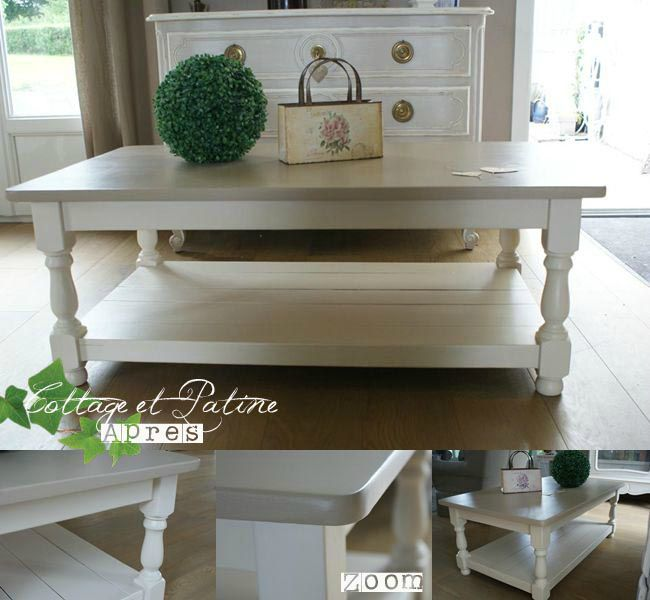 Cottage et patine table basse interior 39 s 5 apr s photo - Relooker une table de salon ...