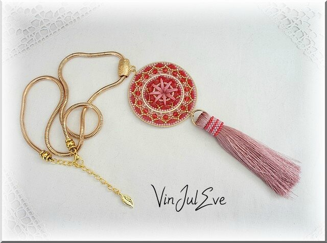 collier Daloa rouge rose
