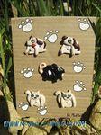 lot 5 boutons chien+chat+souris
