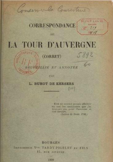 Correspondance de la Tour d'auvergne Corret 1908